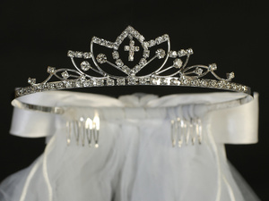"T-812 - 24"" Veil on Rhinestone Tiara"