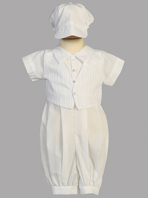 Cotton romper set with embroidered cotton vest