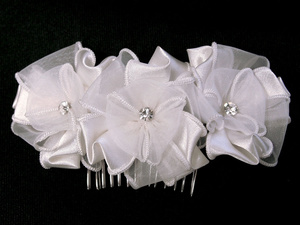 UC3551 Satin & Organza hair clip with rhinestone