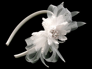 UT1279 Satin headband with tulle & flower with pearl centers