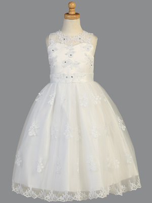 SP982 Organza with beaded appliques & rhinestones